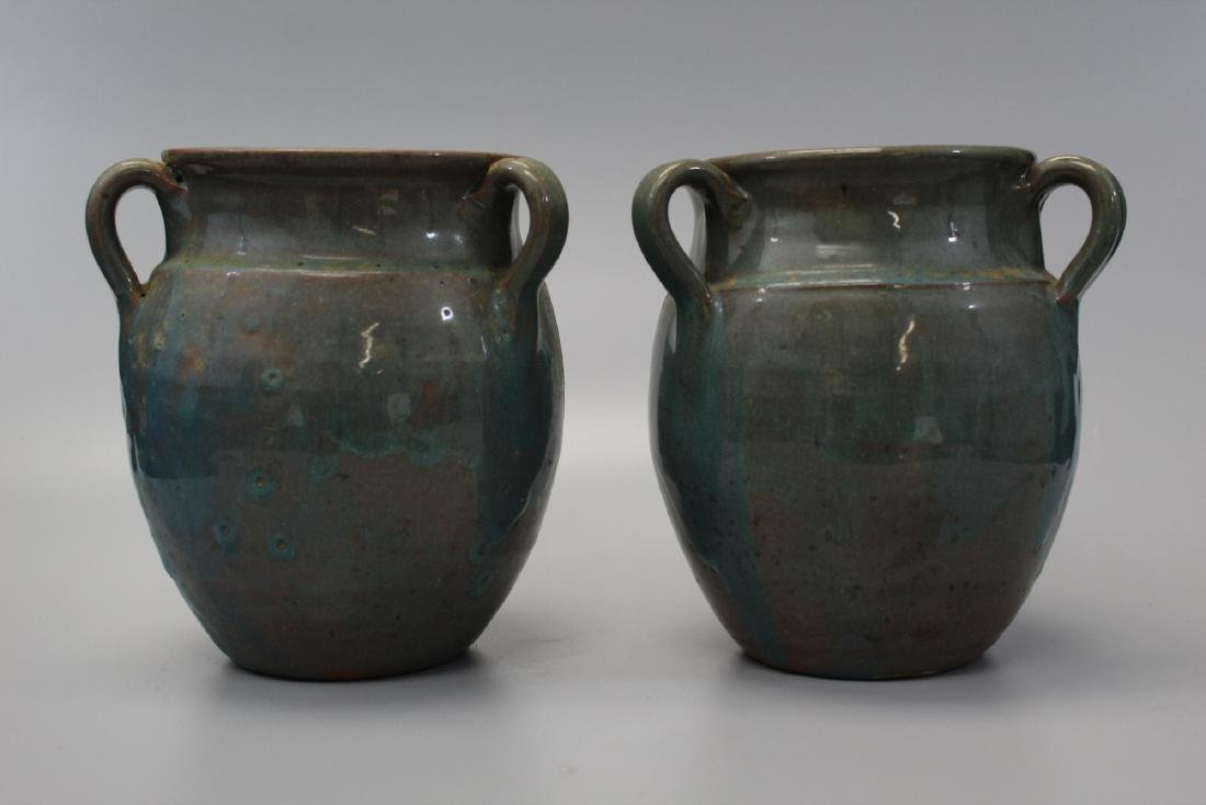 Pair of Early 3 Handled North Carolina Pottery Antique