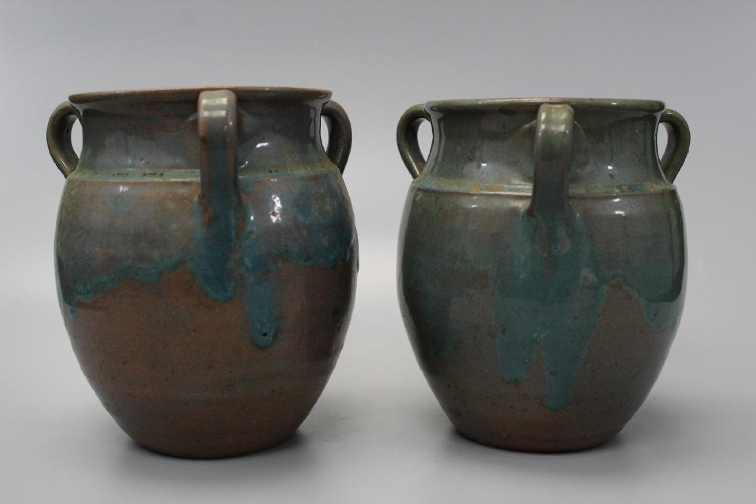Pair of Early 3 Handled North Carolina Pottery Antique - 2