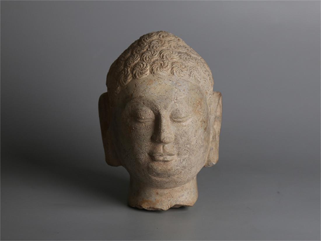Chinese carved stone Buddha head.