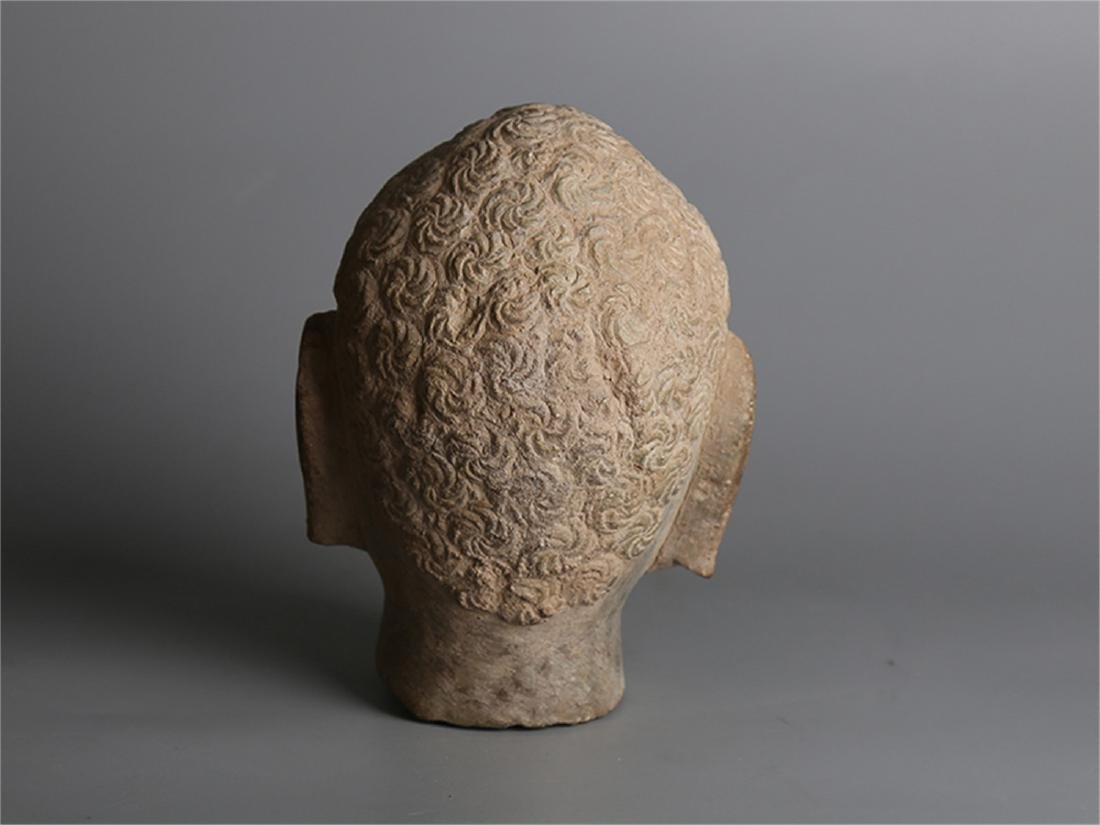 Chinese carved stone Buddha head. - 3
