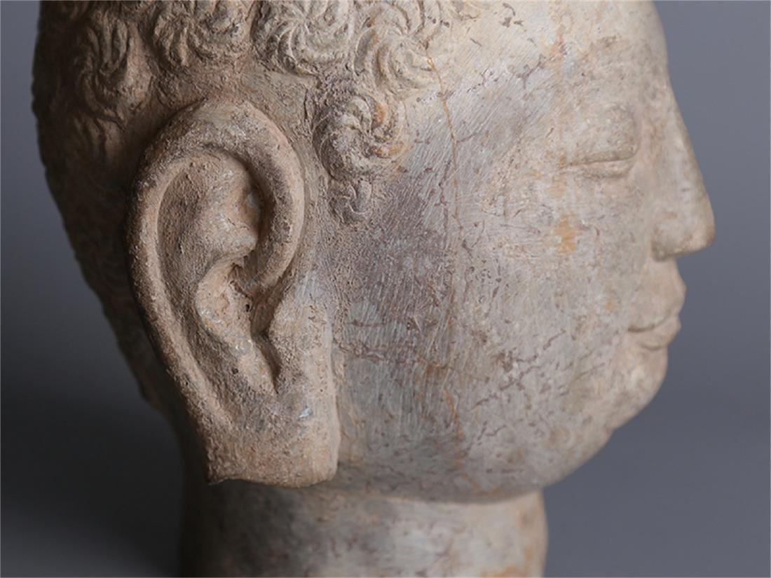 Chinese carved stone Buddha head. - 4