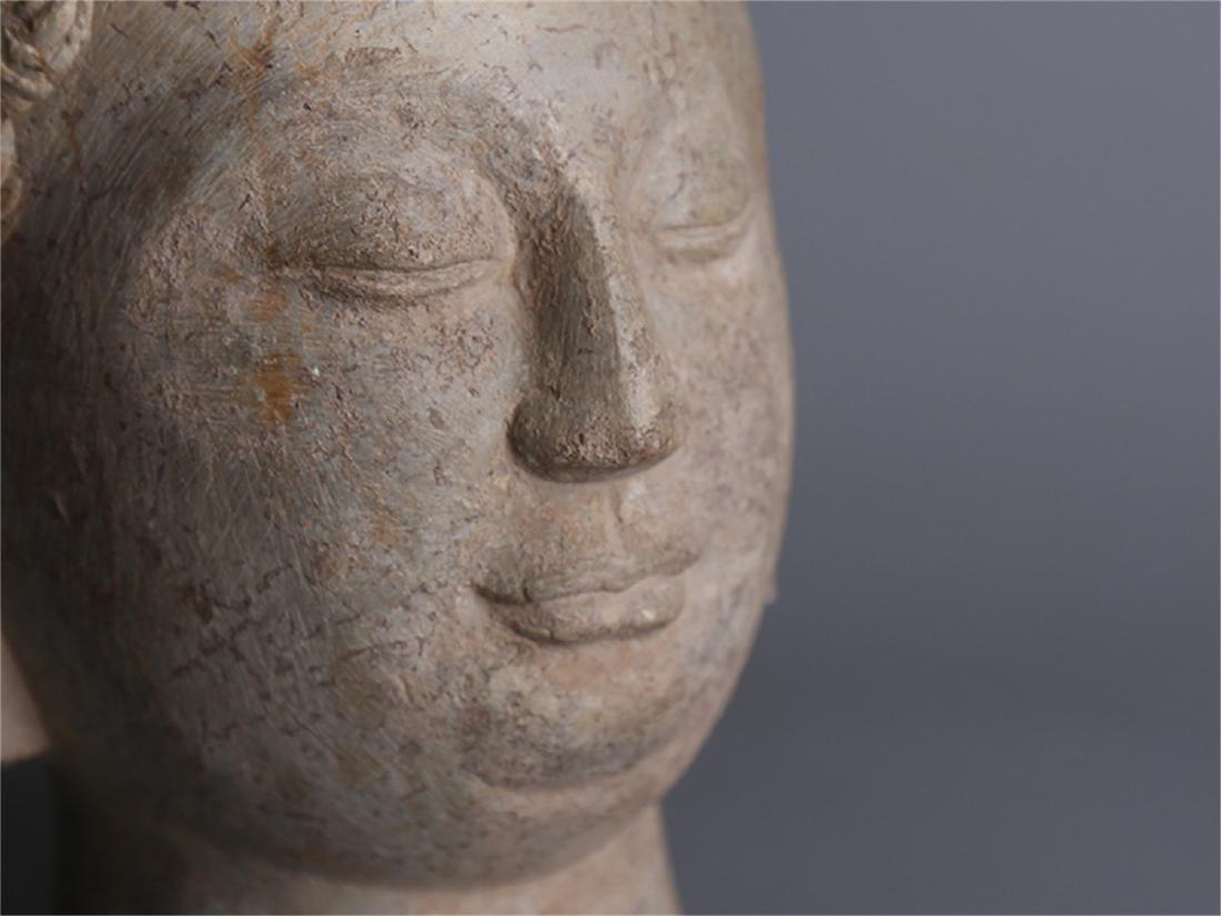 Chinese carved stone Buddha head. - 5