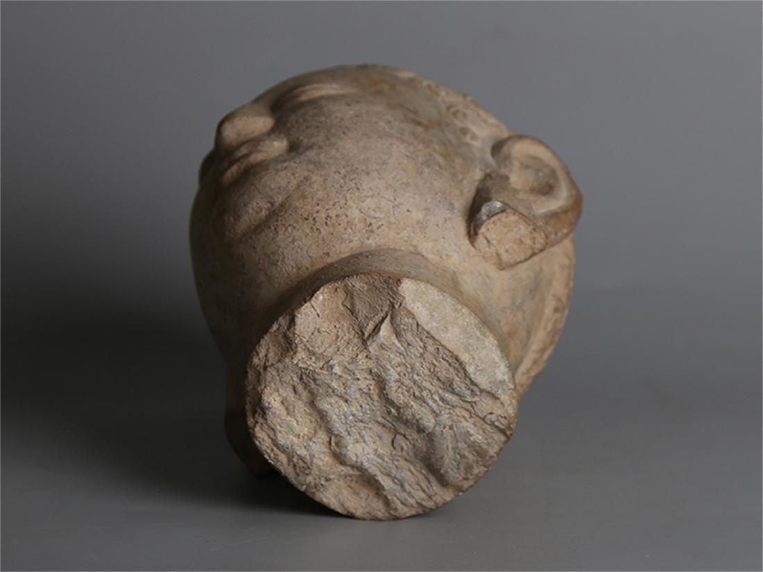 Chinese carved stone Buddha head. - 6
