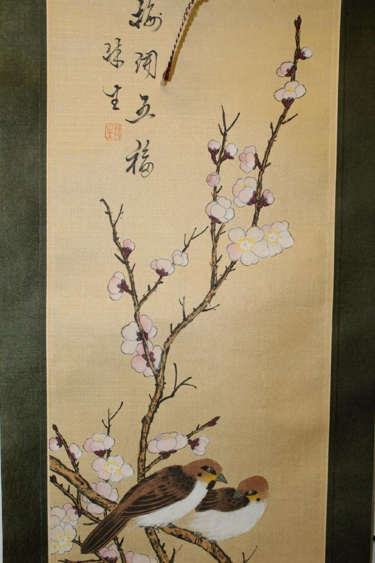 Two Chinese scroll painting on silk . - 3