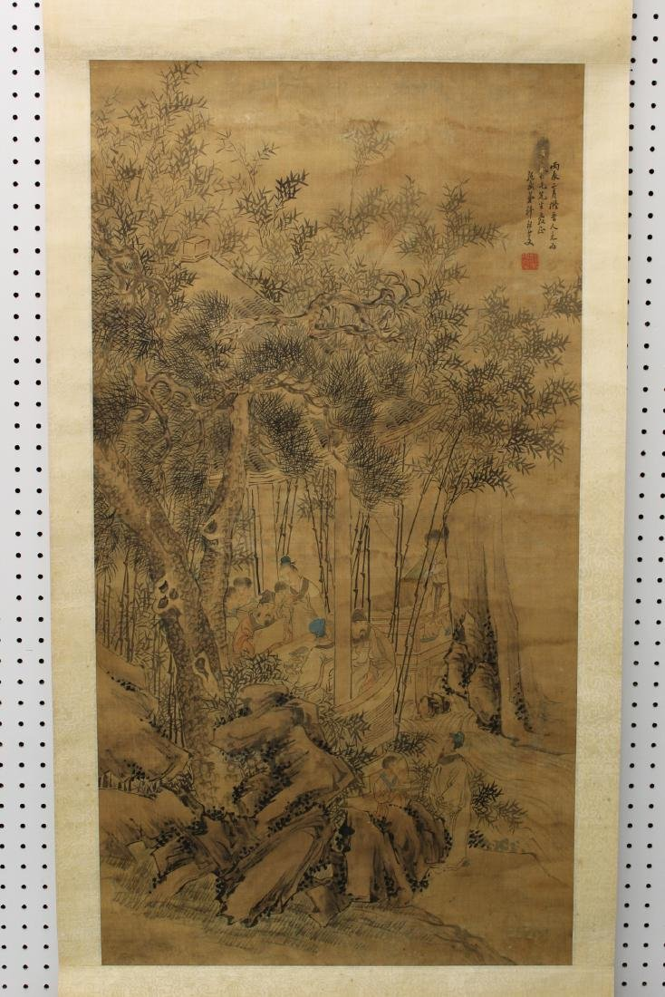 Chinese ink and water color painting on silk scroll