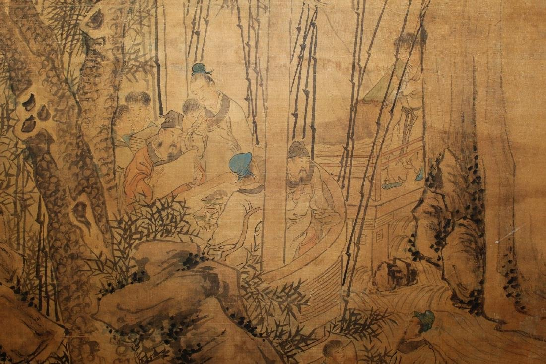 Chinese ink and water color painting on silk scroll - 3