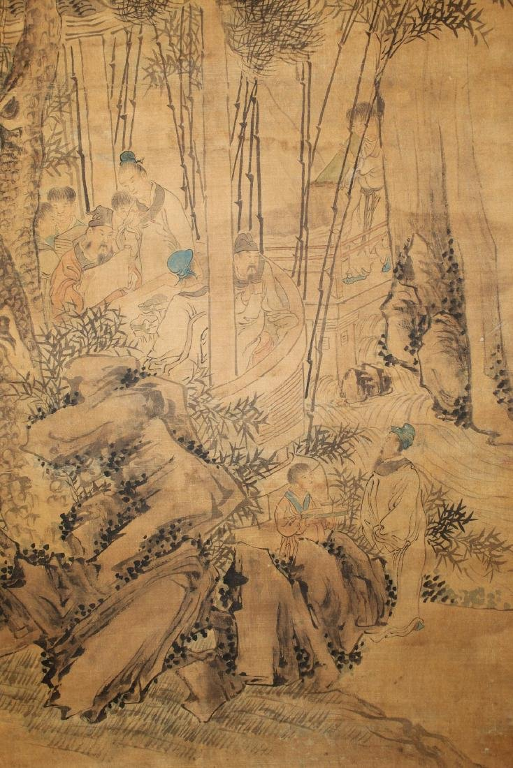 Chinese ink and water color painting on silk scroll - 4
