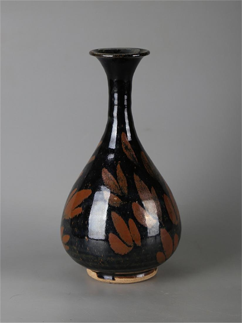 Chinese black glaze pottery vase.