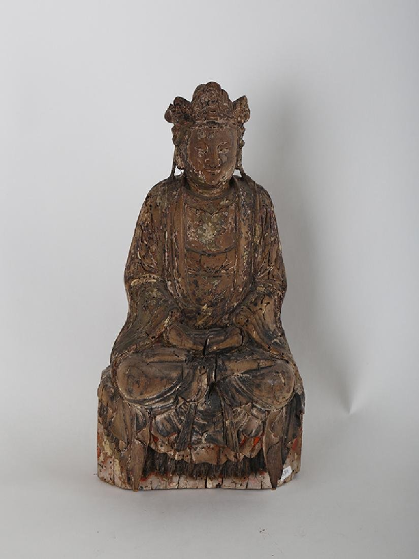Chinese carved wood Buddha.
