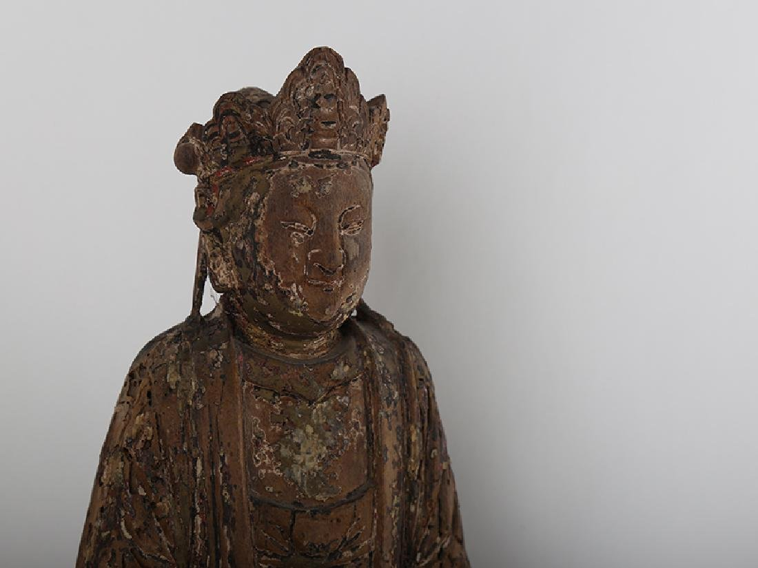 Chinese carved wood Buddha. - 2