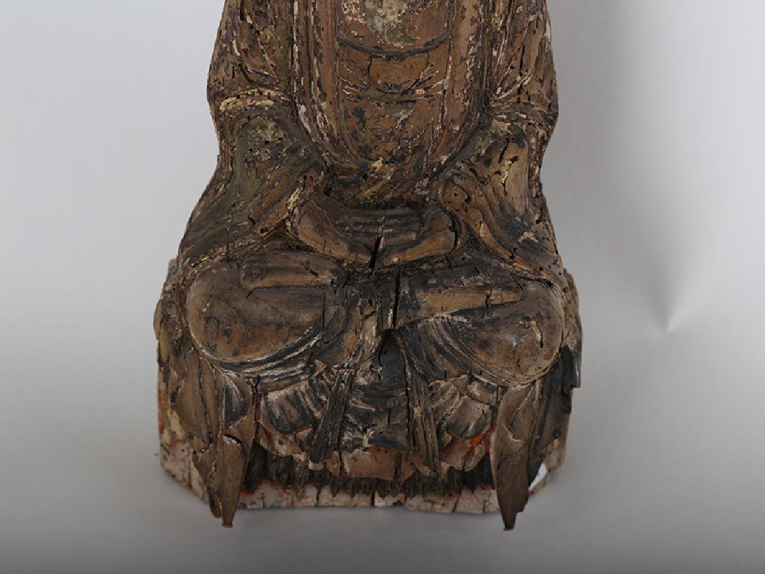 Chinese carved wood Buddha. - 3