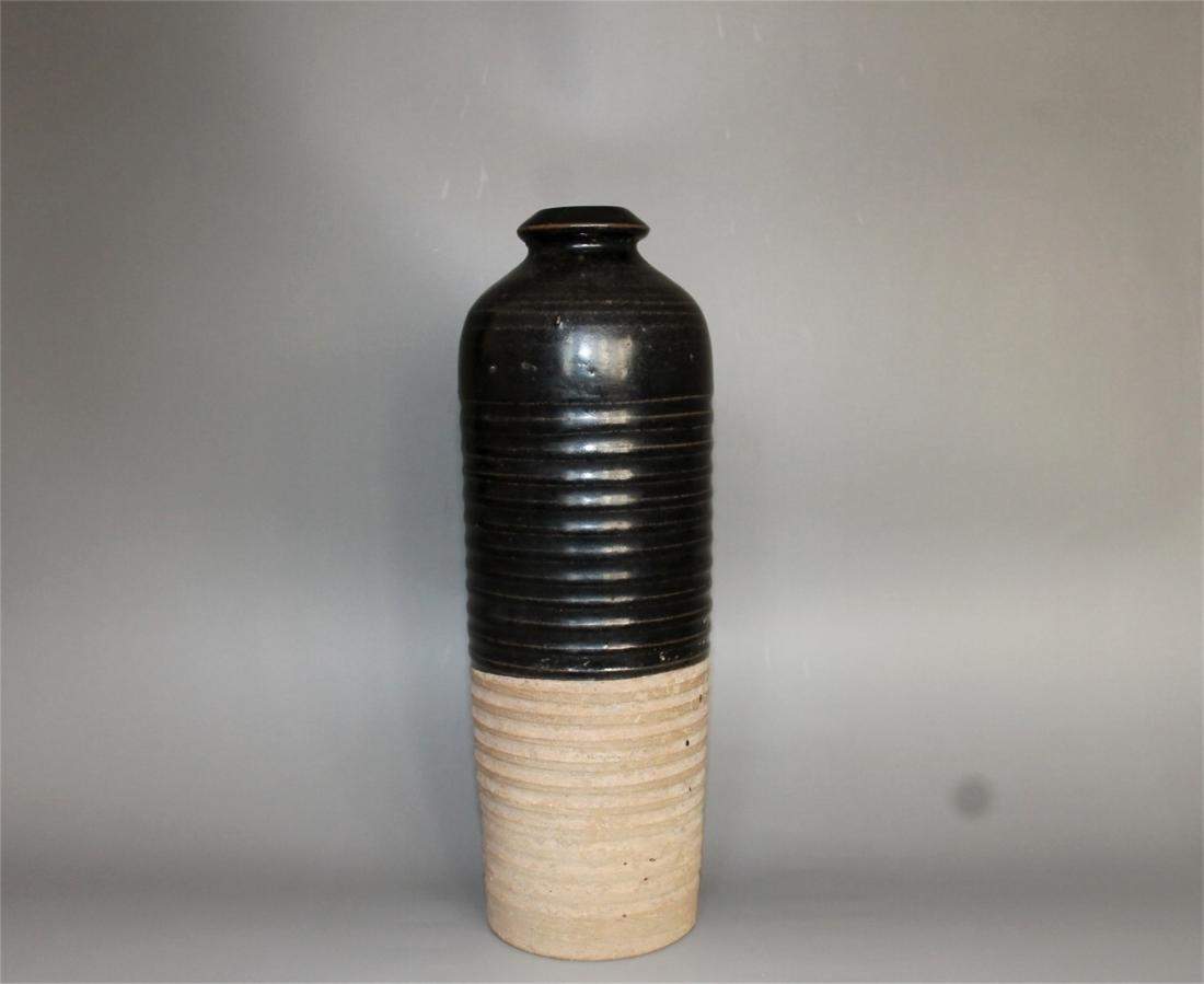 Chinese black glaze pottery vase.
