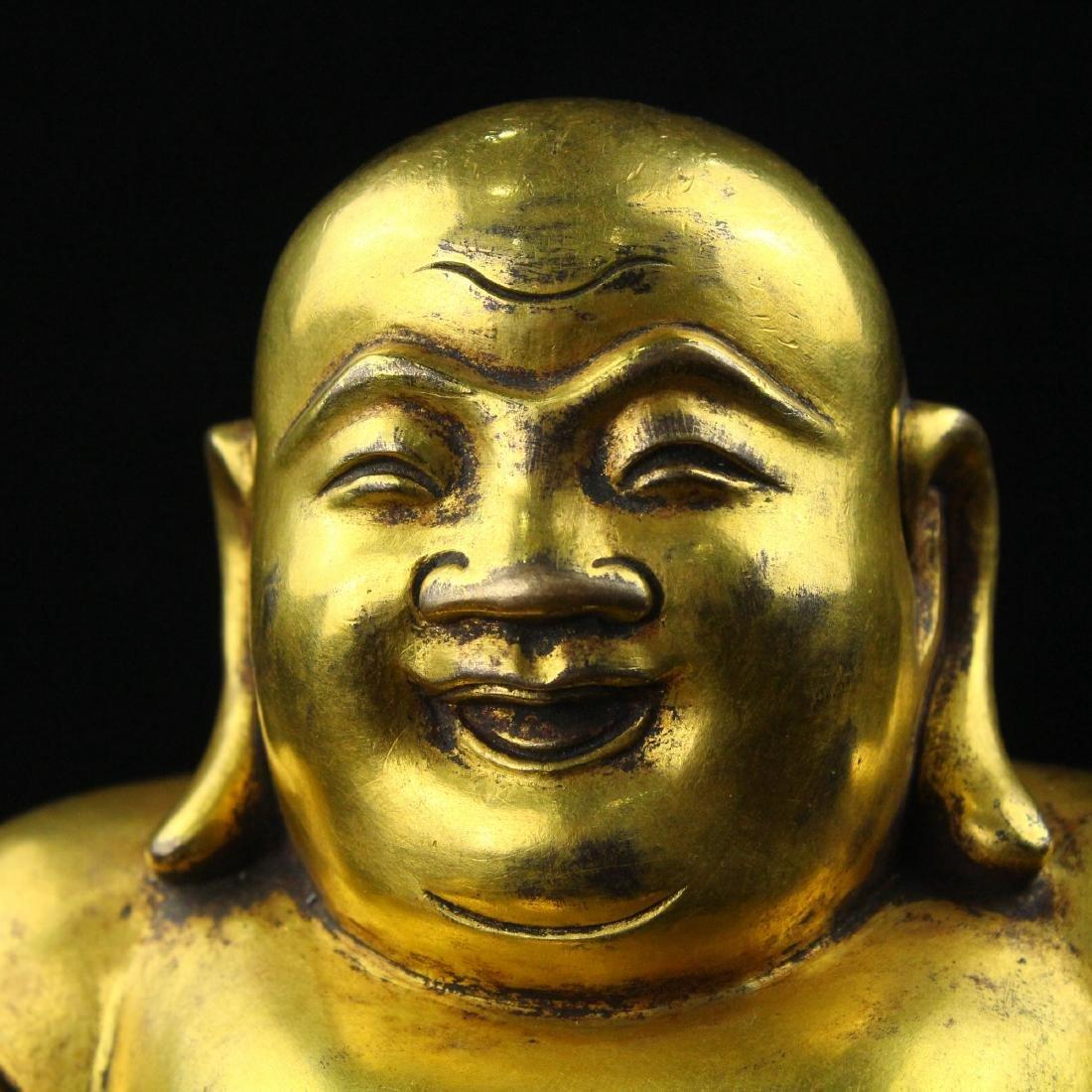 Chinese gilt bronze figure of Laughing Buddha. - 3