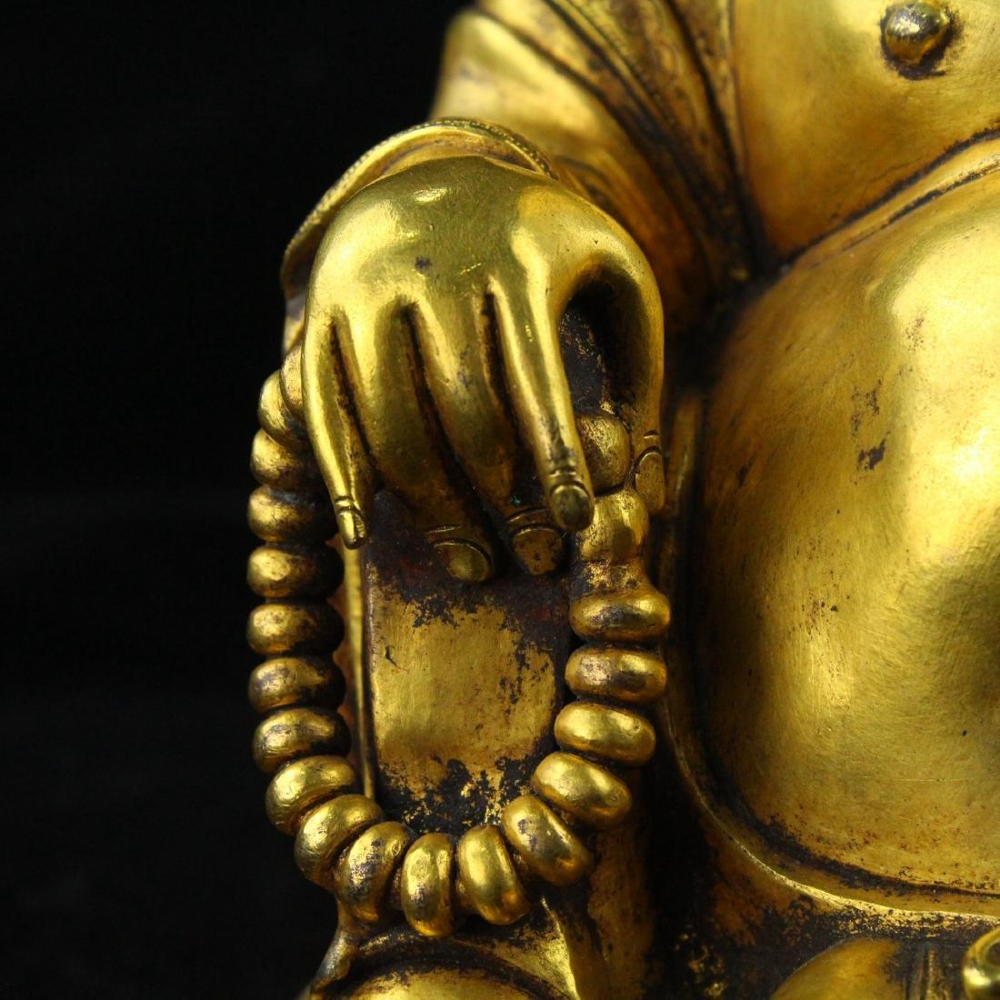 Chinese gilt bronze figure of Laughing Buddha. - 4