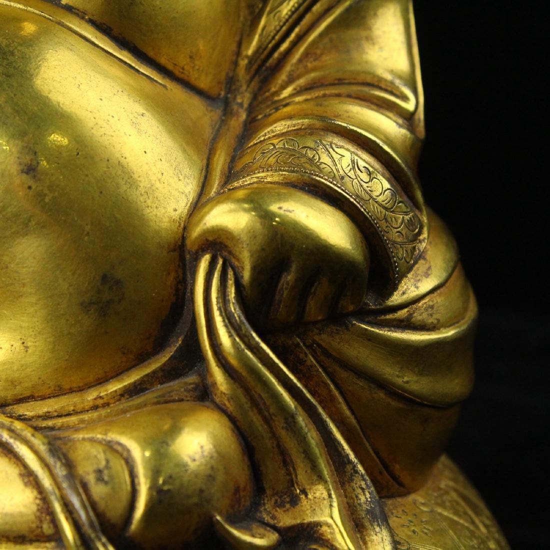 Chinese gilt bronze figure of Laughing Buddha. - 5
