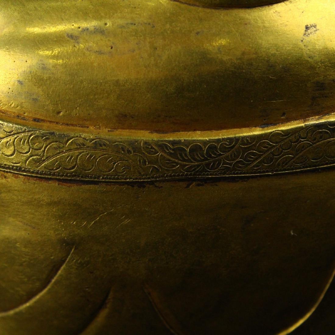 Chinese gilt bronze figure of Laughing Buddha. - 7