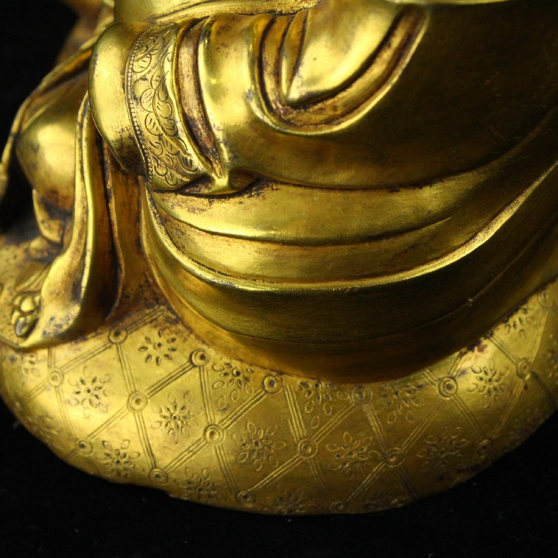 Chinese gilt bronze figure of Laughing Buddha. - 8