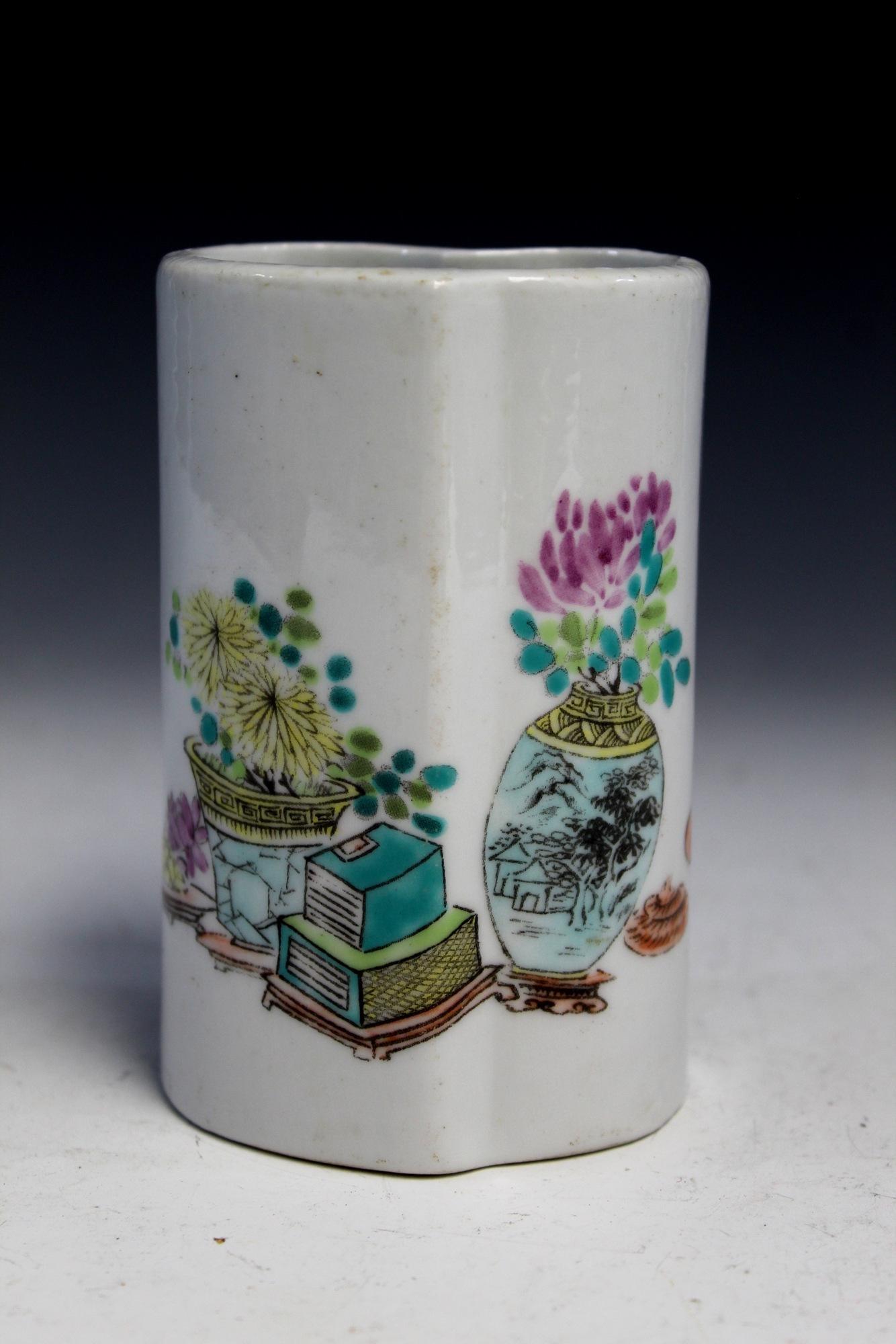 Chinese famille rose porcelain brush pot, mark on the