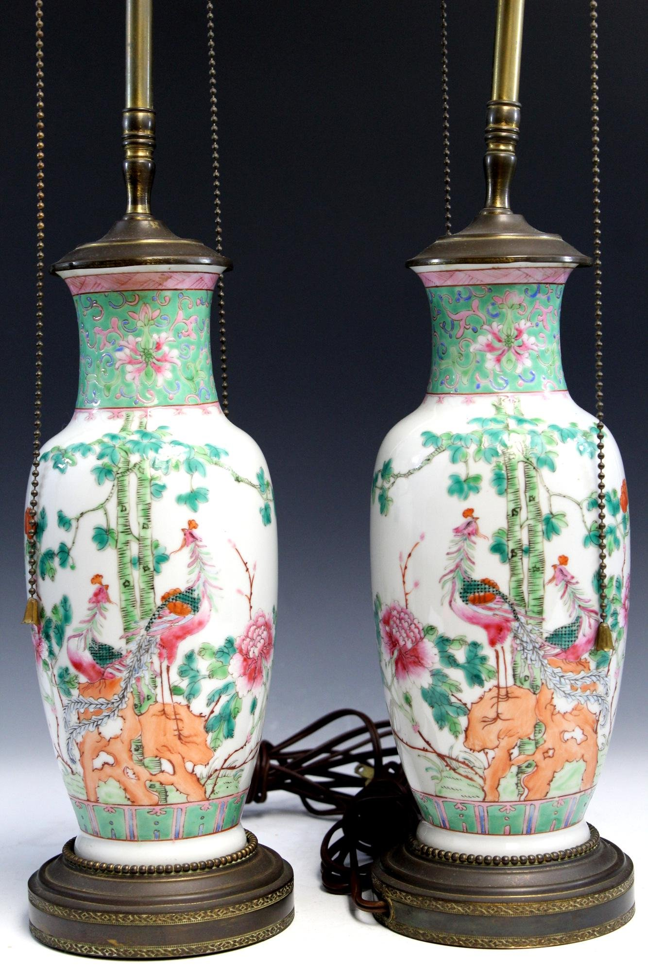 Pair of Chinese famille rose porcelain vases, made into