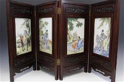 Chinese four-panel famille rose porcelain table screen