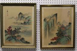 A pair of Chinese water color painting on paper