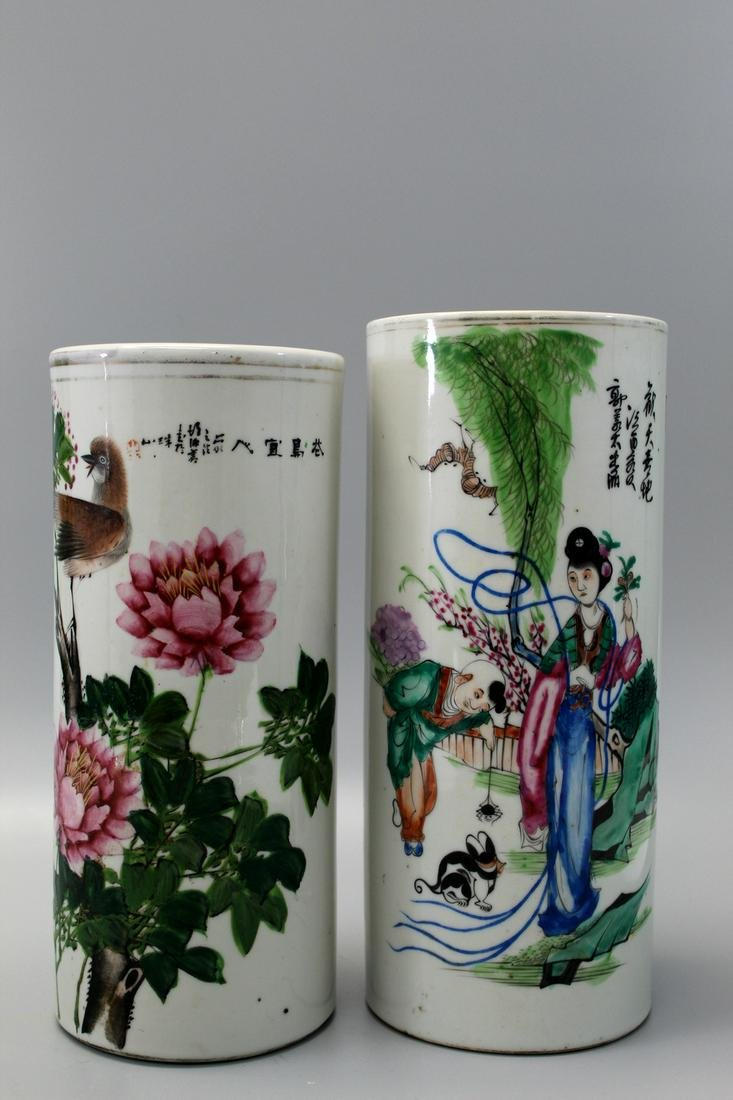 Two Chinese porcelain hat vases.