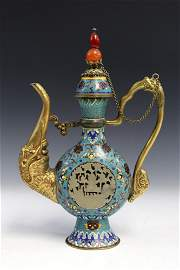 Chinese cloisonne tea pot with carved white jade