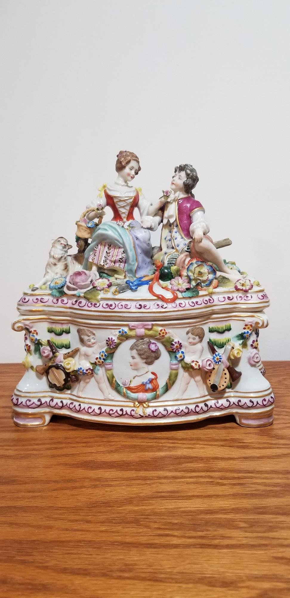 Antique Figural Porcelain Dresden Casket Box Vienna