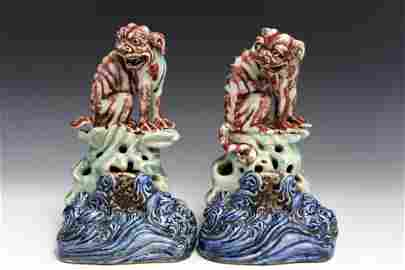 A Pair of Chinese Antique Porcelain Foo Dogs. Kang Xi