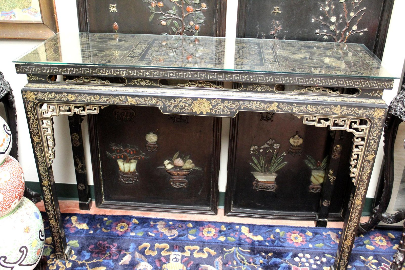 Chinese Antique Lacquered Alter Table with Gilt