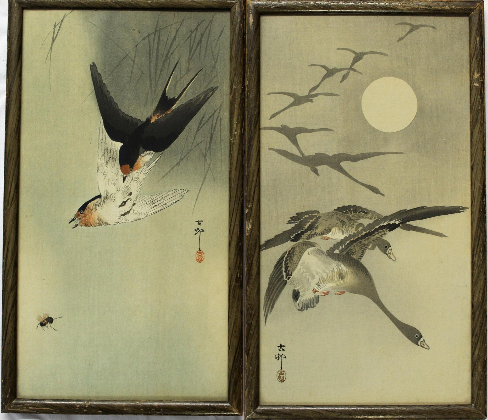 Two Japanese woodblock prints. Ohara Koson, Geese in