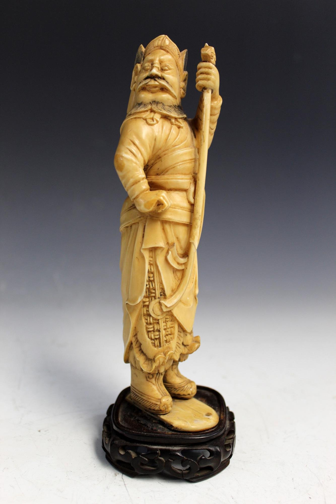 Antique Chinese Carved Warrior Statue.