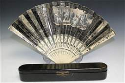 Antique European Hand-painted Fan with Box.