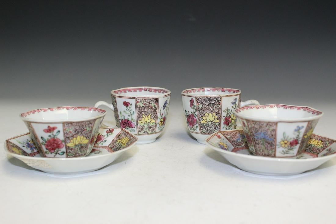 6 Pieces of Chinese Export Famille Rose Porcelain Cups