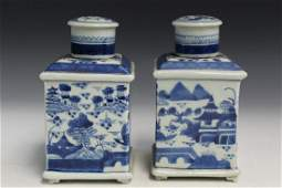 Pair of Chinese Export Type Canton Porcelain Tea caddie