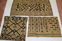 Three Vintage Bark Cloths from D R Congo by the Kuba