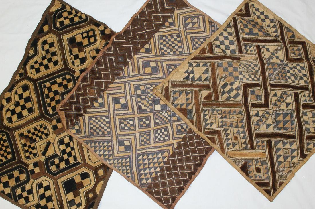Three Small Shoowa Bark Cloths from Kuba Tribe of D. R.