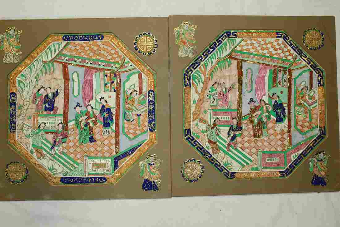 Pair of Chinese Paintings on Golden foil