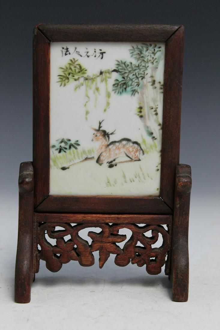 Chinese Antique Small Porcelain Table Screen