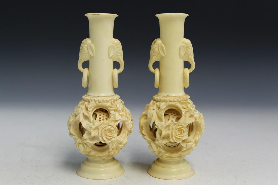 Pair of Chinese Carved Puzzle Ball Vases