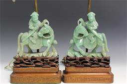 Pair of Chinese Carved Jadeite Statue Lamps