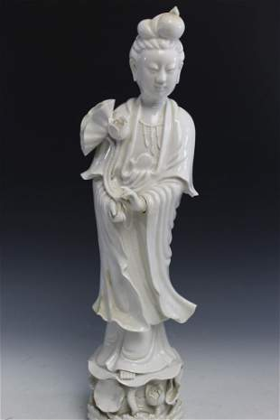 Chinese blanc de chine porcelain Guanyin statue