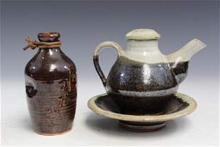 Japanese Pottery Vase and Teapot