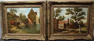 J. Spranger, Two Oil Paintings on Wood Board.