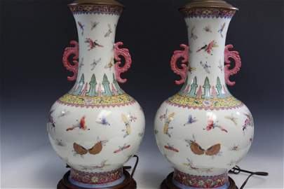 """Pair of Chinese Porcelain """"Hundred Butterflies"""" Lamps"""