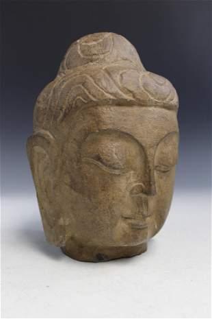 Japanese Carved Stone Buddha Head