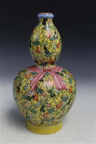 Chinese Yellow Glaze Double Gourd Porcelain Vase