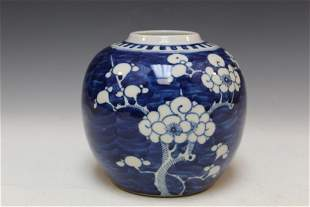 Chinese blue and white porcelain jar, Kangxi mark.