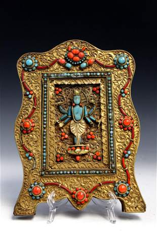 Tibetan Buddhist panel with coral and turquoise