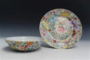 """Chinese Famille Rose """"Hundred-Flower"""" Porcelain Bowl"""